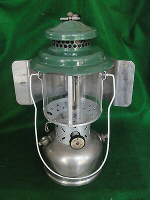Coleman 1937 Model 220B Twin Mantle Camp Lantern Nickel Brass w /Reflector