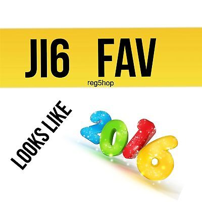 J16 FAV Private Personalised Car Registration Plate Number 16 initial Favourite