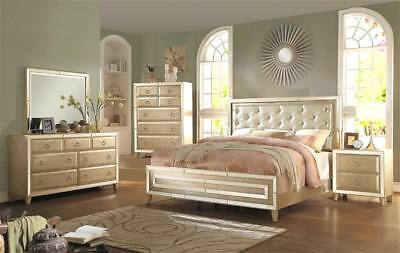 BUTTON TUFTED HEADBOARD w/Mirror Trim Cal King Size Wooden ...