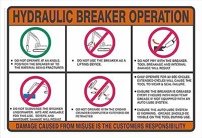 Excavator Hydraulic Hammer Operating Instructions Decal -Good for Rental Company