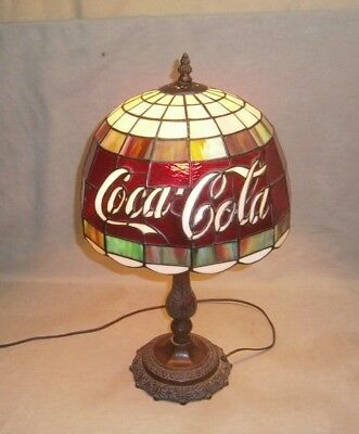Vintage Tiffany Style Stained Gl Coca Cola Table Lamp