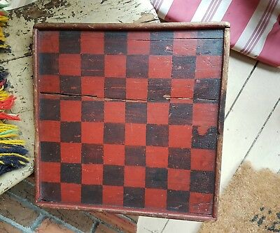 Early Painted Wooden Checkerboard.