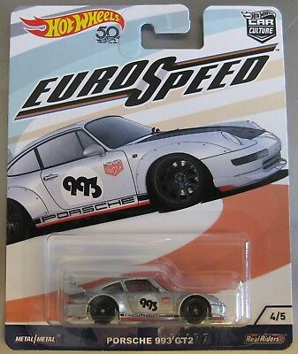Hot Wheels Car Culture Euro Speed Series Porsche 993 Gt2 Silver
