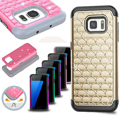 For Samsung Galaxy S6 / S6 Edge Luxury Bling Shockproof Hybrid Rugged Case Cover