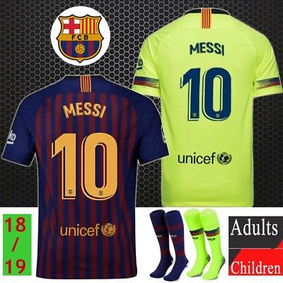 18/19 Football Soccer Club Messi Jersey Short Sleeve for 3-14Y Kids Suit+Socks