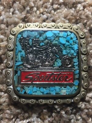 Harley Davidson Sportster Ladies Buckle Turquoise Inlay Solid Brass VERY RARE