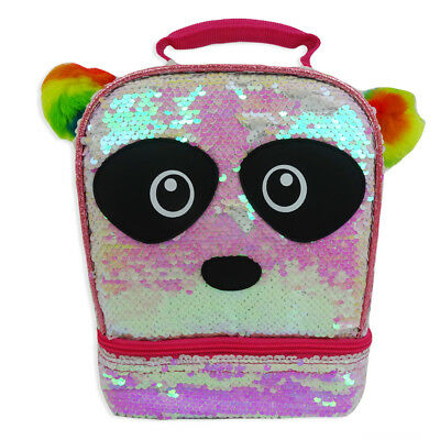 2-Way Sequin Panda Dual Compartment Lunch Bag Tote