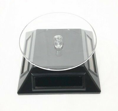 Solar Powered Rotating Rotary Phone Jewelry Display Plate Stand Turntable Black