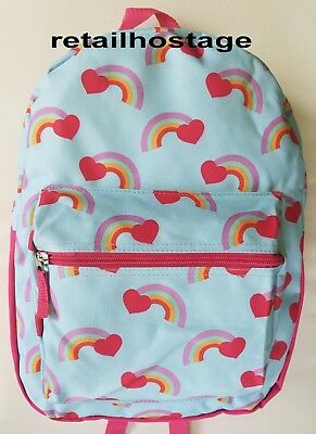 "15"" Kids Rainbow Hearts Backpack Pre School Toddler Book Bag Tote Preschool"