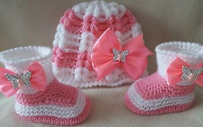 Hand knitted Romany Bling baby girls Shoes //booties+Crochet headband.0-3months