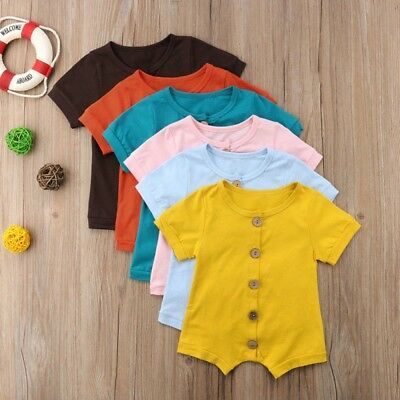 1PC Lively Newborn Baby Boys Girls Solid Button Romper Bodysuit Jumpsuit Clothes