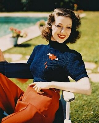 Loretta Young Rare Glamour Smiling Color Photo 8x10 Photo (20x25 cm approx)