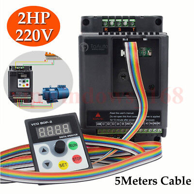 1.5KW 2HP VFD Inverter Variable Frequency Speed Control Driver & 5m Panel Cable