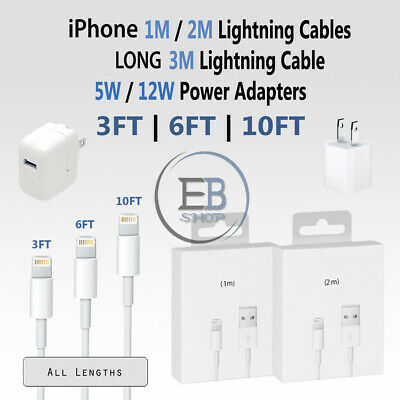 OEM Apple Lightning Cable 3FT 6FT 10FT USB 5W 12W Charger iPhone 5 6s 7 8 X lot