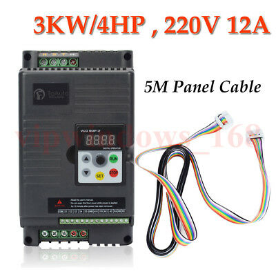 3KW VFD Inverter 500Hz 4HP 12A Variable Frequency Driver 220V + 5m Panel Cable