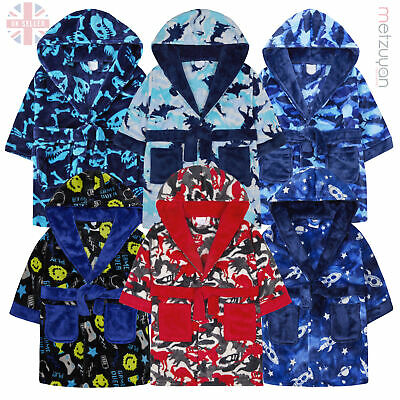 Infant Boys Dinosaur Camo Camouflage Plush Fleece Dressing Gown Robe Hooded Kids
