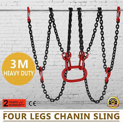 10FT Chain Sling 4 Legs 5T Capacity Adjustable Lifting Rigging With Hooks