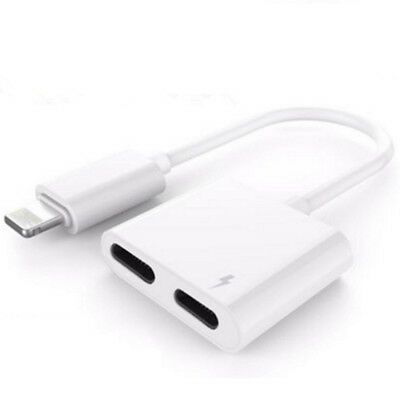 Dual Lightning Audio Headphone Adapter Charger Splitter For iPhone 7 iPhone 8 X