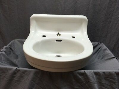 Vtg Ceramic White Porcelain Wall Mount Bath Sink Old Standard Tiffin Old 314-18E