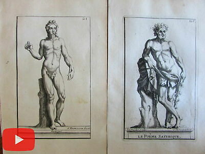 male Nudes Statues of Versailles France 1694 lot x 10 antique engraved prints