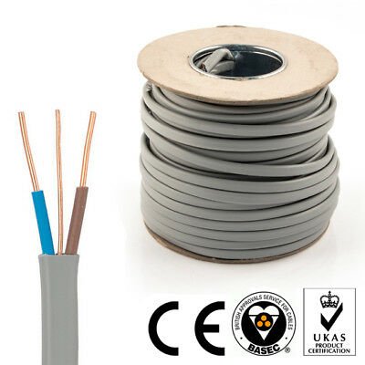Twin and Earth Cable Flat 2 Core 6242Y 1.5mm Electrical Wire Lights Socket