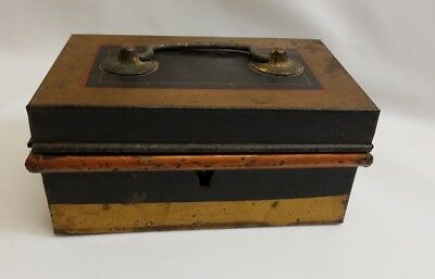 Antique Cash Money Box Miniature Metal Safe Early 20th Century Old