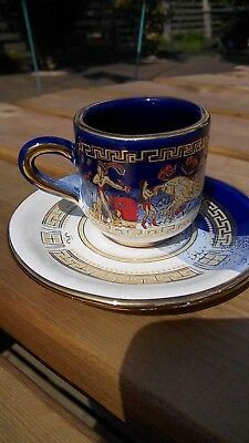 Inias 6 demi cups & saucers handmade with a Greek mythology pattern