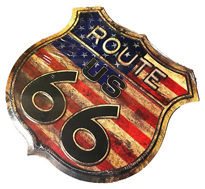Metal Wall Sign Tin Route 66 Shield Plaque Vintage Shabby Chic Garage Usa Us