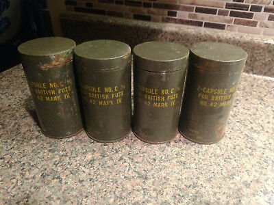 Vintage Lot 4 Military Tin Capsule Mark IV Can Tank British Empty Containers e