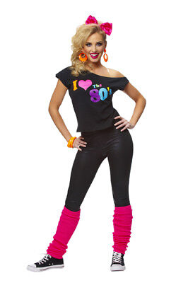 e66f3aa860f65 WOMENS I LOVE The 80's T-Shirt Halloween Costume - $15.95 | PicClick
