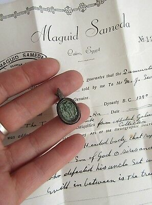 Genuine ancient Egyptian scarab pendant silver mount- Museum licence certificate