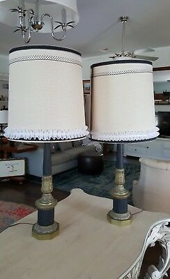 Vintage Pair of Large Brass Metal Ornate Column Table Lamps