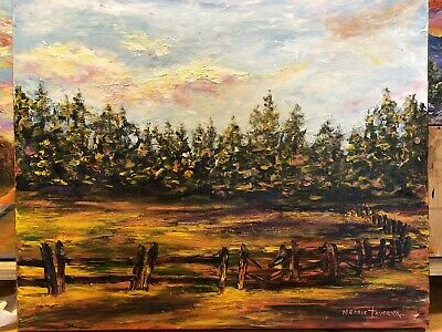 LARGE ORIGINAL Acrylic TEXTURE Painting Autumn Woods Forest Meadow Trees 20 X 24