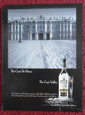 1996 Print Ad Smirnoff Black Vodka ~ The Czar's Ski House Imported From Russia
