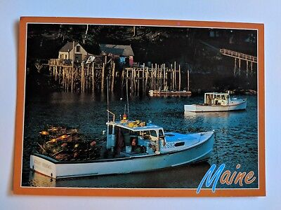 Maine Postcard Lobster Boat Harbor Waterfront Summer Fishing