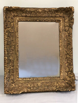 Fine Antique French gilt framed mirror Gold leaf on carved wood 18th early 19thc