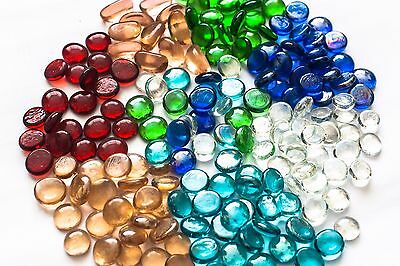 100 (app 450g) Coloured Glass Pebbles 20mm Home Wedding Mosaic Garden 15 Colours