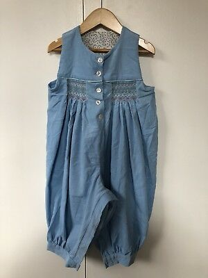 VINTAGE soft corduroy all in one jumpsuit girls size 12-18 months smocking