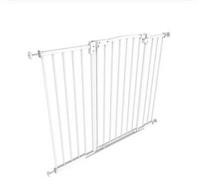 Tall & Wide Metal Gate Fence White Safety Baby Toddler Stairs, Doorways, Barrier