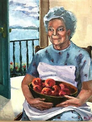 Original Oil Painting Woman With Apples Portrait Signed Unframed Grandma Cook