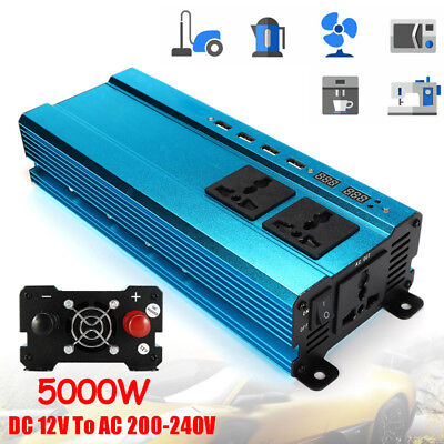 5000W Solar Power Inverter LED Display 12VDC to 220VAC Sine Wave Converter Valid