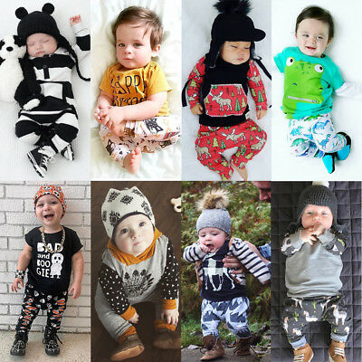 Toddler Baby Boy Infant Romper T-shirt Tops+Long Pants Outfit Set Kids Clothes