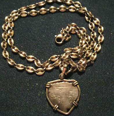 "Antique Spanish Coin 1 Reale w/14 ct  20"" Curb Link Chain"