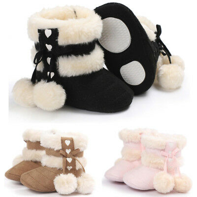Lively Newborn Baby Girls Soft Booties Winter Warm Snow Boots Bowknot Sole Shoes