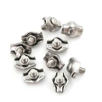 10x Stainless Steel Wire Cable Rope Simplex Wire Ropes Grips Clamp Clip 2mmV2A