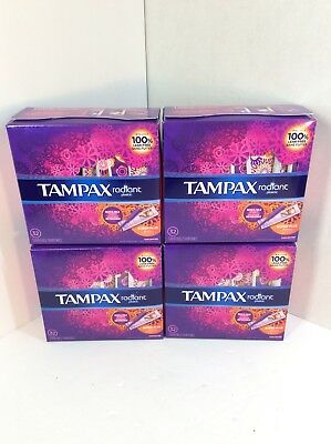 Tampax Radiant Plastic Tampons, Super Plus Absorbency, Unscented, 4x32=128Count
