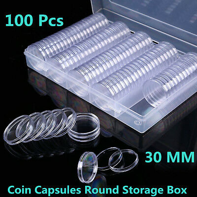 100 Pcs Clear Coin Capsules Coins Case Holders 30MM Containers Storage Boxes US