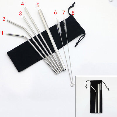3 Stainless Steel Straw Metal Reusable Drinking Straws+ Cleaner Brush +Pouch Set