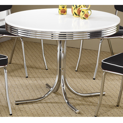 Retro Dining Table Vintage Chrome Round 1950 S Style Indoor Outdoor Furniture
