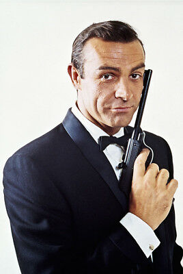 Goldfinger Sean Connery iconic pose as James Bond Walther LP Model 53 Gun Poster